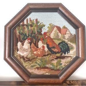 Vintage 1996 Chicken Needlepoint in Wood Frame